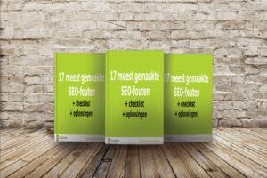 Mock up met muur e-book 17 meest gemaakte SEO fouten